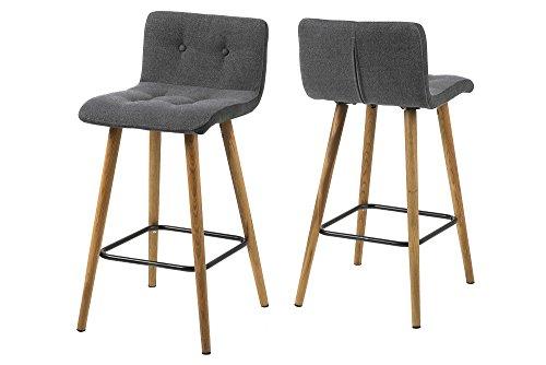 AC Design Furniture 60492 Barhocker 2-er Set Charlotte, Seiten dunkelgrau, Stoff-Knöpfen hellgrau / grau