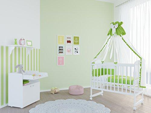 Polini Kids Babyzimmer Set mit Babybett/Gitterbett Siple 323 und Wickelkommode inclusive Matratze in weiß