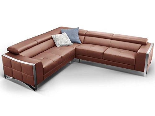 Ecksofa ledersofa couch wohnlandschaft rindsleder braun for Wohnlandschaft elsa