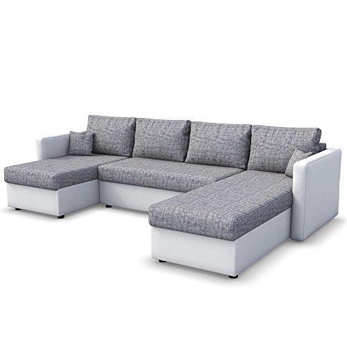 Wohnlandschaft king size 290 x 140 cm wei grau sofa mit for Wohnlandschaft 290 cm breit