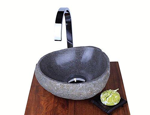 WOHNFREUDEN 30 CM Naturstein-Waschbecken Steinwaschbecken rund innen poliert aussen natur Gäste WC