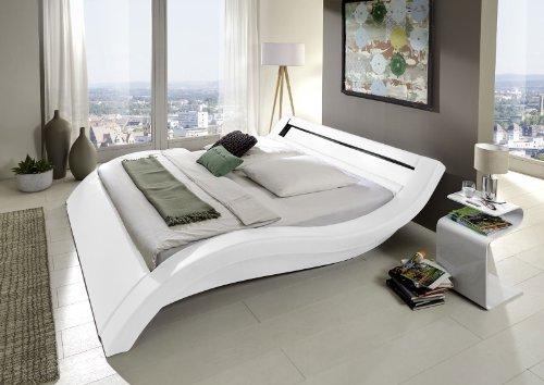 SAM® Innocent Polsterbett Look in Weiß 160 x 200 cm geschwungene Seitenteile Kopfteil mit Beleuchtung Wasserbett geeignet