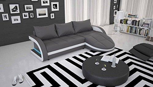 Polster-Ecke mit blauer LED und Kunstleder grau / weiß 265x158 cm   Laganio   Design Sofa-Garnitur in L-Form mit Recamiere   Gesteppte Eck-Couch für Wohnzimmer grau / weiss 265cm x 158cm