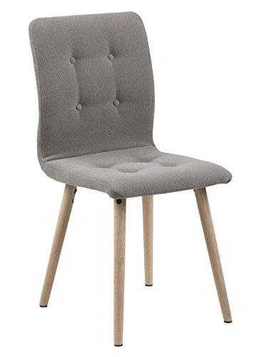 AC Design Furniture Charlotte Stuhl, Stoff, Hellgrau, 55,5 x 43 x 88 cm