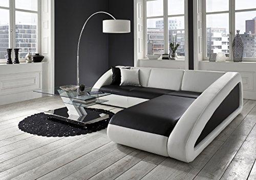 SAM® Ecksofa Ciao schwarz - weiß - weiß 270 x 250 cm Ottomane rechts designed by Ricardo Paolo® exklusiv L - Form