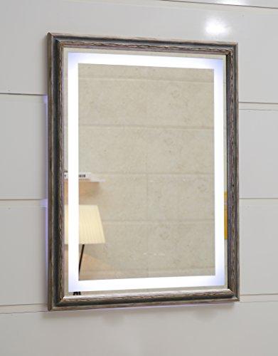 Design LED-Beleuchtung Wandspiegel GS099N Lichtspiegel Badspiegel Flurspiegel Garderobenspiegel mit Rahmen Tageslichtweiß IP44 (80 x 60 cm, K1)