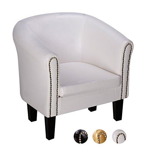 CCLIFE Chesterfield lounge Sessel - Klassisches Design Mit Hochwertige Qualität Für Wohnzimmer, Esszimmer, Büro, 2 jahre Garantie, Farbwahl, Farbe:Weiss