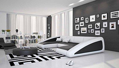 Wohn-Landschaft XXL mit LED-Beleuchtung in schwarz / weiß 355x200 cm U-Form   Sanassi-U   Design Couch-Garnitur XXL aus Kunstleder   Polster-Ecke für Wohnzimmer schwarz / weiss 355cm x 200cm