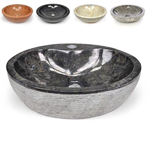 DIVERO Naturstein Aufsatz-Waschbecken Venosa Handwaschbecken Waschschale Marmor Stein innen poliert außen strukturiert rund grau schwarz anthrazit