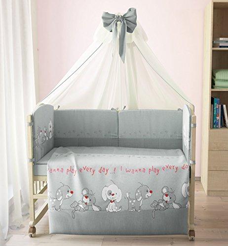 "Polini Kids Baby Bett-Set Wäsche 140x70 ""Funny Game""7-tlg,1266 (Grau)"