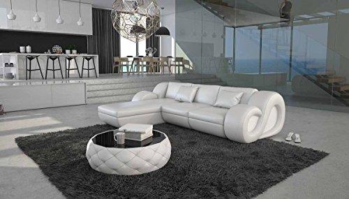 Polster-Ecke mit Kunstleder Bezug weiß 270x190 cm | Tane-L | Design Sofa-Garnitur in L-Form Recamiere links | Eck-Couch für Wohnzimmer weiss 270cm x 190cm