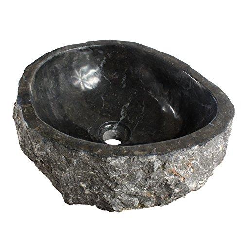 Marmorwaschbecken Waschbecken Stein Becken Basin Bad Waschschale Aufsatzwaschbecken Schwarz Marmor 38cm Nr. 18