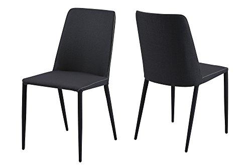 AC Design Furniture 61063 Stuhl Nina 2-er Set anthrazit, Rückseite/Beine, Keder schwarz
