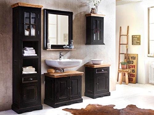sam 5tlg design badm bel set corsica aus mangoholz mdf schwarz mit honigfarbenen platten. Black Bedroom Furniture Sets. Home Design Ideas