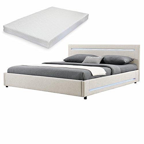 elegantes led polsterbett mit kaltschuam matratze h2 140x200cm kopfteil. Black Bedroom Furniture Sets. Home Design Ideas