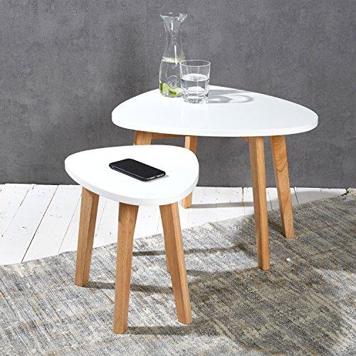 2er Set Nierentische Satztische Beistelltische Couchtische weiß natur im Retro- bzw. skandinavischen Design