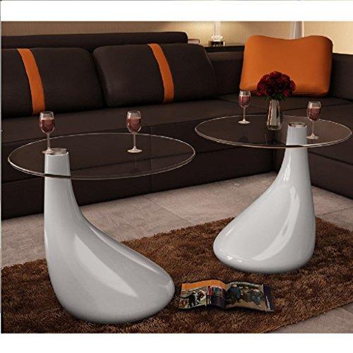 vidaXL 2 x Design Couchtisch LOUNGE TEAR weiß Beistelltisch Glas Tisch Glastisch 2