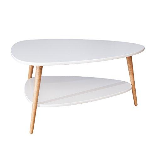 Design Retro Couchtisch SCANDINAVIA weiß Eiche Tisch Wohnzimmertisch mit zusätzlicher Ablagemöglichkeit