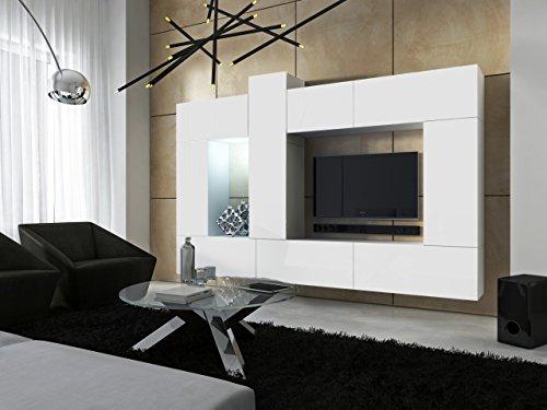 FUTURE 22 Moderne Wohnwand, Exklusive Mediamöbel, TV-Schrank, Neue Garnitur, Große Farbauswahl (RGB LED-Beleuchtung Verfügbar) (Weiß MAT base / Weiß MAT front, Möbel)