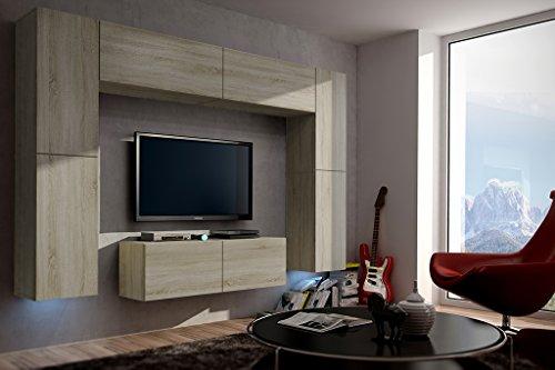 FUTURE 3 Moderne Wohnwand, Exklusive Mediamöbel, TV-Schrank, Neue Garnitur, Große Farbauswahl (RGB LED-Beleuchtung Verfügbar) (Sonoma base / Sonoma front, RGB fernbedienung)