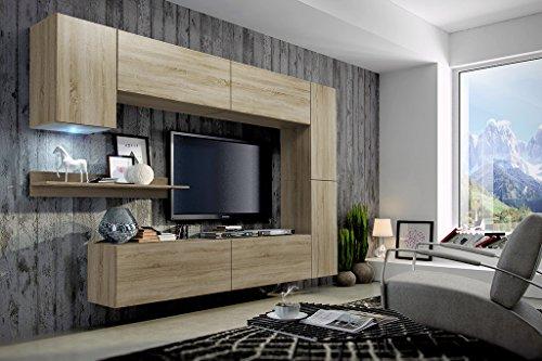 FUTURE 6 Moderne Wohnwand, Exklusive Mediamöbel, TV-Schrank, Neue Garnitur, Große Farbauswahl (RGB LED-Beleuchtung Verfügbar) (Sonoma, Weiß LED)