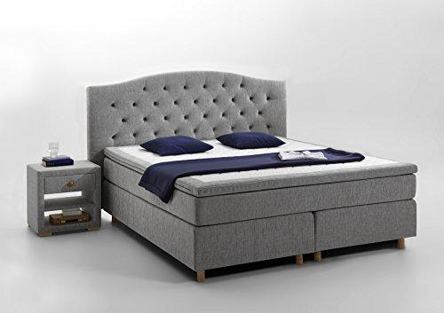 atlantic home collection claire boxspringbett stoff hellgrau 180x200 cm h2 2 m bel24. Black Bedroom Furniture Sets. Home Design Ideas