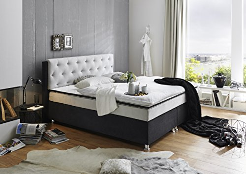 atlantic home collection ron boxspringbett taschenfederkern stoff grau schwarz double 180 x. Black Bedroom Furniture Sets. Home Design Ideas