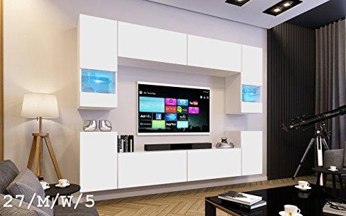 FUTURE 27 Wohnwand Anbauwand Wand Schrank Möbel TV-Schrank Wohnzimmer Wohnzimmerschrank Matt Weiß Schwarz LED RGB Beleuchtung (27/M/W/5, LED blau)