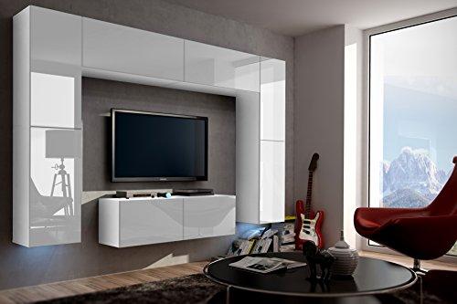 FUTURE 3 Zeitnah Wohnwand Wohnzimmer Möbelset Anbauwand Schrankwand Möbel Set Gratisverand Hochglanz Weiß Schwarz LED RGB Beleuchtung (Front: Hochglanz Weiß / Korpus: Matt Weiß, RGB)