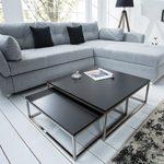 Design Couchtisch 2er Set BIG FUSION matt schwarz chrom gebürstet Satztische Wohnzimmertisch Tischset
