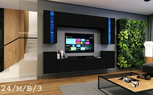 Wohnwand FUTURE 24 Moderne Wohnwand, Exklusive Mediamöbel, TV-Schrank, Neue Garnitur, Große Farbauswahl (RGB LED-Beleuchtung Verfügbar) (LED 16-farbig mit Fernbedienung, Schwarz Matt)