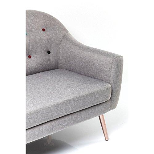 3-Sitzer Sofa Couch Design KARE Design grau mit bunten Knöpfen 2