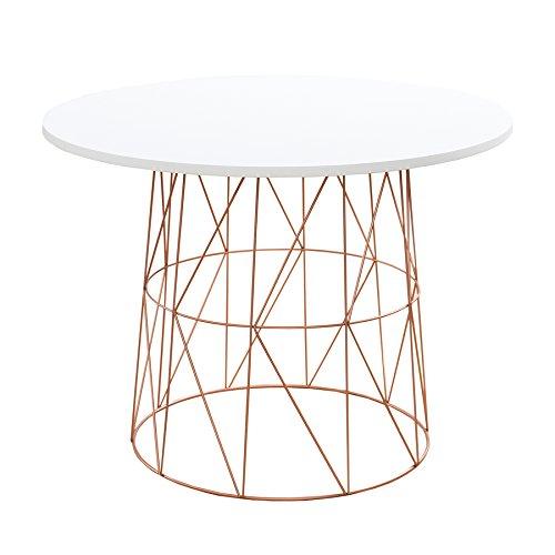 Moderner Couchtisch Beistelltisch WIRE TEA TABLE Metallgestell in kupfer Tischplatte in weiß Metallkorb Wohnzimmertisch skandinavisches Design