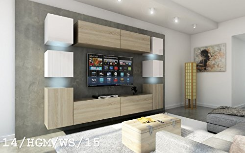Wohnwand FUTURE 14 Moderne Wohnwand, Exklusive Mediamöbel, TV-Schrank, Neue Garnitur, Große Farbauswahl (RGB LED-Beleuchtung Verfügbar) (ohne LED, 14_HGM_WS_15)