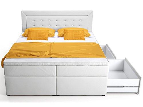 Boxspringbett mit Bettkasten Schubkasten weiß schwarz Celia Doppelbett Hotelbett Bonellfederkern Topper (180x200cm, Weiß)