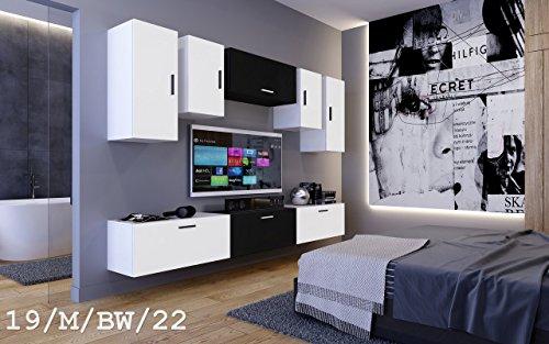 FUTURE 19 Wohnwand Anbauwand Möbel Zimmer Schrank TV-Schrank Mediamöbel Matt Weiß Schwarz Sonoma LED RGB Beleuchtung (19/M/BW/22, LED blau)