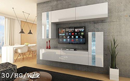 FUTURE 30 Moderne Wohnwand, Exklusive Mediamöbel, TV-Schrank, Schrankwand, TV-Element Anbauwand, Neue Garnitur, Große Farbauswahl (RGB LED-Beleuchtung Verfügbar) (30_HG_W_2, Weiß LED)
