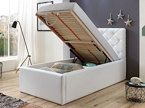 Polsterbett Bett mit Bettkasten 90x200 Weiß Nelly Lattenrost Einzelbett Kinderbett