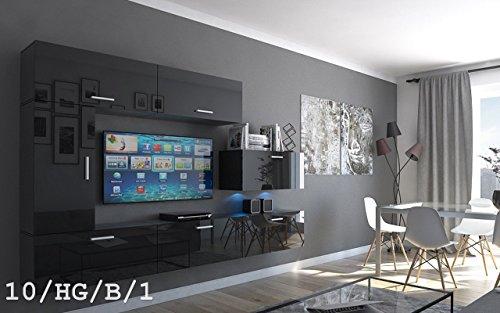 FUTURE 10 Wohnwand Anbauwand Wand Schrank Möbel Wohnzimmer Wohnzimmerschrank Hochglanz Weiß Schwarz LED RGB Beleuchtung (10/HG/B/1, LED weiß)