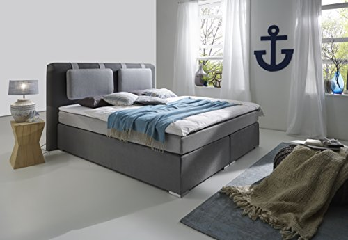 atlantic home collection hardy boxspringbett stoff grau 180 x 200 cm m bel24. Black Bedroom Furniture Sets. Home Design Ideas