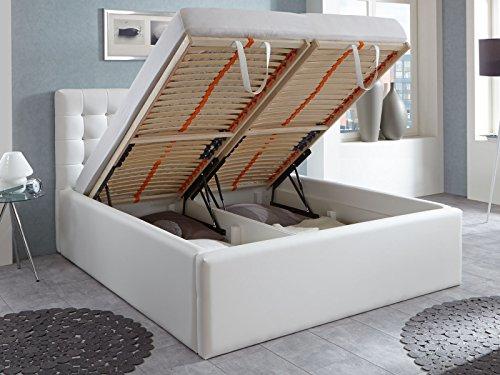 Luxus Polsterbett mit Bettkasten Selly mit Zirkonia Steinen XXL Kunslederbett Doppelbett Ehebett Weiß (180x200cm)