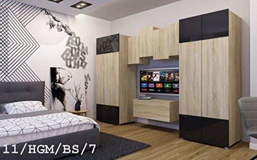 FUTURE 11 Moderne Wohnwand Anbauwand Wand Schrank Zimmer TV-Schrank Möbel Neu Exklusiv Hochglanz Matt Weiß Schwarz Sonoma LED RGB Beleuchtung (11/HGM/BS/7, Möbel)