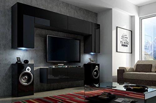FUTURE 2 Wohnwand Wohnzimmer Möbelset Anbauwand Schrankwand Möbel Set LED RGB Beleuchtung Hochglanz Schwarz Weiß (Front: Hochglanz Schwarz / Korpus: Matt Schwarz, Möbel)