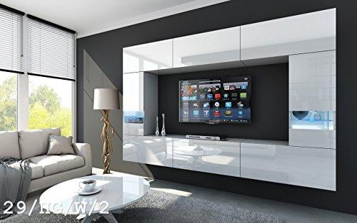 FUTURE 29 Wohnwand Anbauwand Wand Schrank TV-Schrank Wohnzimmerschrank Wohnzimmer Hochglanz Weiß Schwarz LED RGB Beleuchtung (29/HG/W/2, LED blau)