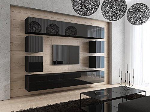 FUTURE 17 Moderne Wohnwand, Exklusive Mediamöbel, TV-Schrank, Neue Garnitur, Große Farbauswahl (Schwarz MAT base / Schwarz HG front)