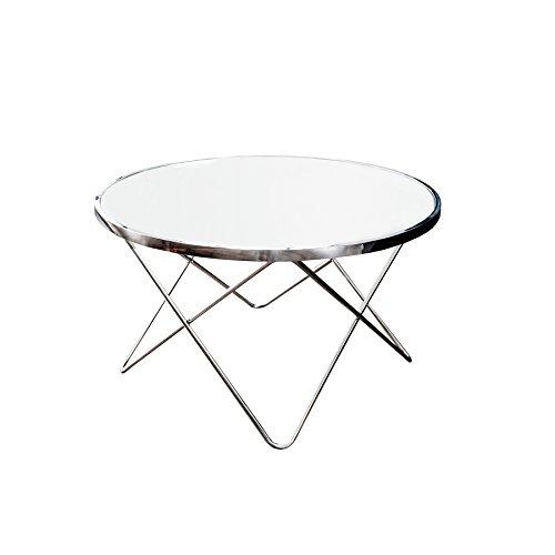 Design Couchtisch ORBIT 85 cm chrom weiß Beistelltisch Tisch Wohnzimmertisch rund Glastisch