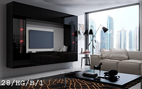 FUTURE 28 Moderne Wohnwand, Exklusive Mediamöbel, TV-Schrank, Schrankwand, TV-Element Anbauwand, Neue Garnitur, Große Farbauswahl (RGB LED-Beleuchtung Verfügbar) (28_HG_B_1, Blau LED)