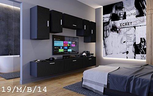 Wohnwand FUTURE 19 Moderne Wohnwand, Exklusive Mediamöbel, TV-Schrank, Neue Garnitur, Große Farbauswahl (19_M_B_14, ohne LED)