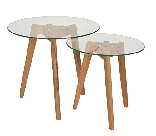ts-ideen 2er Set Design Glas Beistelltische rund Holz Eiche Kaffeetisch Couchtisch Nachttisch