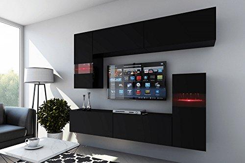 FUTURE 31 Wohnwand Anbauwand Wohnzimmer TV-Schrank Möbel Wohnzimmerschrank LED RGB Beleuchtung Matt Weiß Schwarz (31/M/B/4, RGB)
